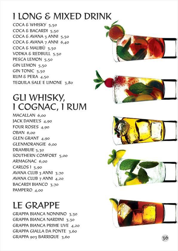 Re Artù menu web Aperitivi Liquori Cocktails