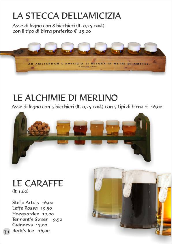 Re Artù menu web Birre Bibite