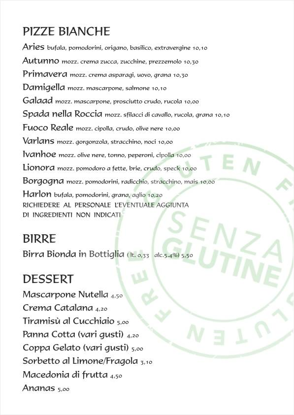 Re Artù menu web Menu senza glutine